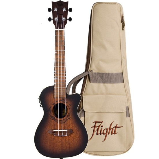 Flight Concert Ukulele DUC 380 CEQ Amber mit Tasche