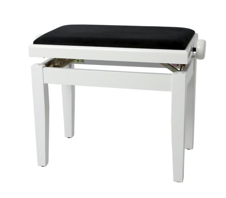 Gewa Pianobank Deluxe Weiß hochglanz, Bezug schwarz